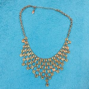 Ann Taylor gold & clear crystal statement necklace